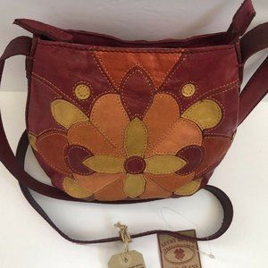 Lucky Brand Crossbody Leather Patched Work Floral